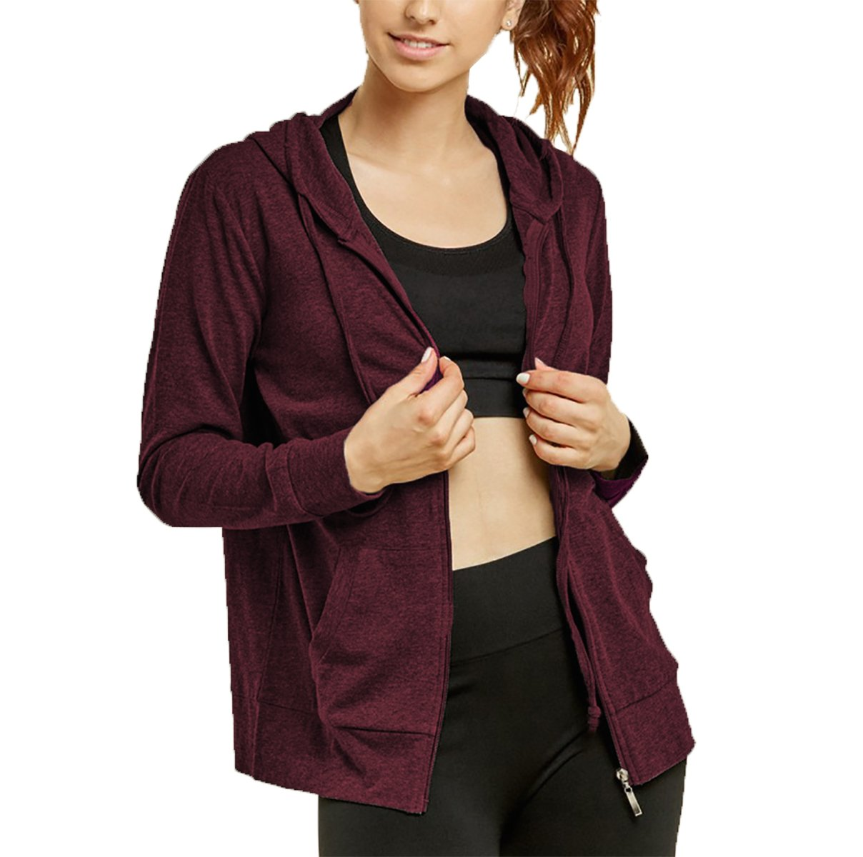 Glass House Apparel Women's Zip up Active Yoga Gym Casual Thin Cotton Long Sleeve Jacket Hoodie (Burgundy, Medium)
