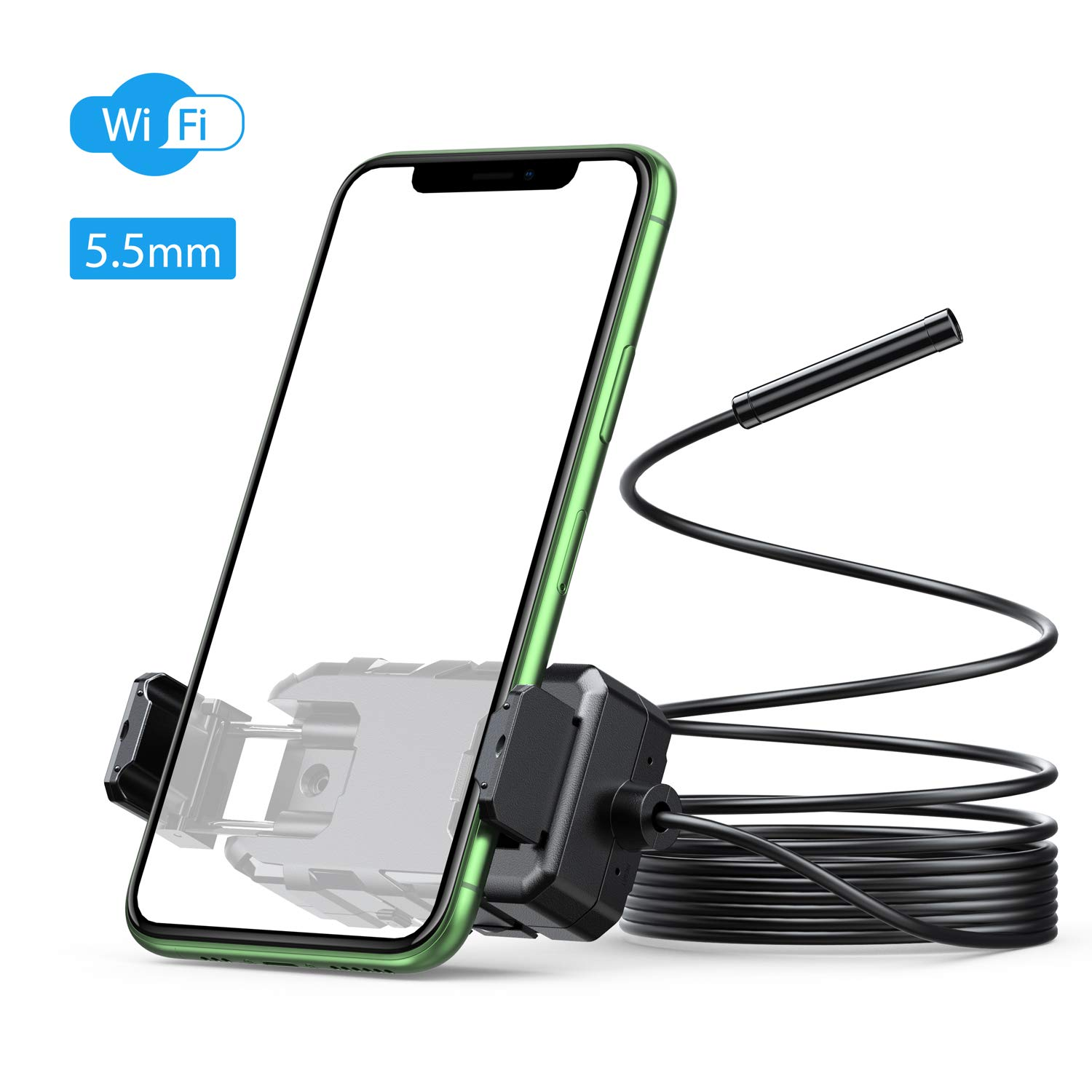 for Android /& iOS Phone and Tablet -16.5FT equiped Phone Mount Holder 5.5mm Ultra-Thin HD WiFi Borescope Wireless Endoscope 16 inch Focal Distance Inspection Camera