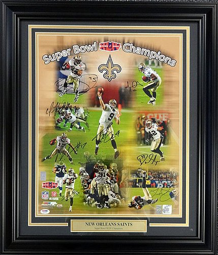 Super Bowl XLIV Champion New Orleans Saints Signed Framed 16 x 20 Photograph With 9 Signatures Including Drew Brees - Certified Genuine Autograph By PSA/DNA - Autographed Football Photograph