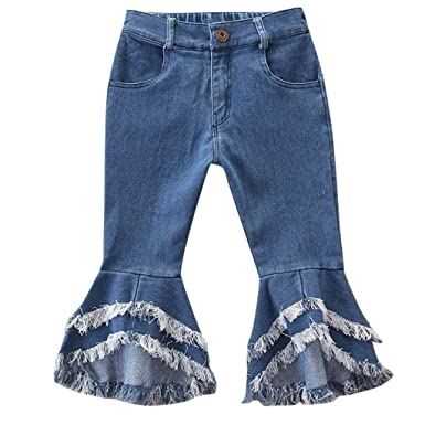 0abc5831 Mysky Fashion Casual Pure Color Tassel Flare Pants Patchwork Denim Jeans  Pants for Toddler Kids Baby