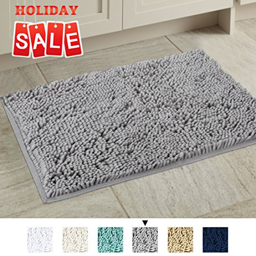 Non-Slip Microfiber Bath Rugs Chenille Floor Mat Ultra Soft Washable Bathroom Dry Fast Water Absorbent Bedroom Area Rugs Gray, 20 inches by 32 inches (Bathroom Mats Accessories Floor)