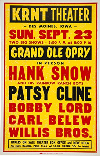 Xxl Poster Prints Patsy Cline Hank Snow Krnt Theater Concert Poster (Grand Ole Opry, 1962 (Old Concert Posters)