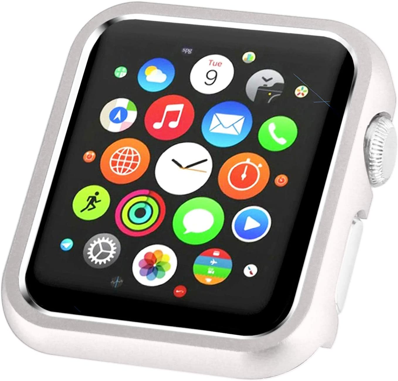 Leotop Compatible with Apple Watch Case 38mm 42mm, Compatible iWatch Bumper Metal Protective Cover Aluminum Alloy Frame Bling Shiny Protector Compatible Apple Watch Series 3/2/1(Matte Silver, 38mm)