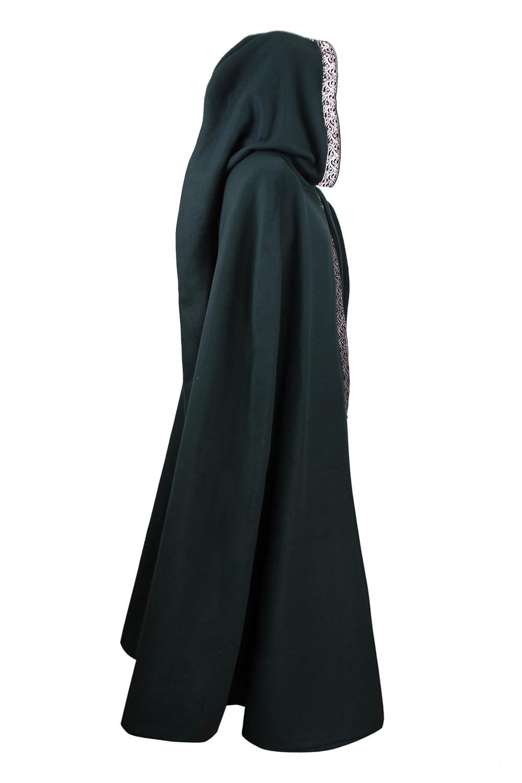 Mittelalterlicher Fleece Umhang mit Borte - wärmend - grün L130