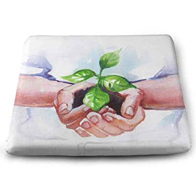 Yunshm Hands Holding Sprouted Seeds Solid Square Seat Cushion Bar Stool Office Chair Cushion Soft for Furniture Decoration Customized: Home & Kitchen
