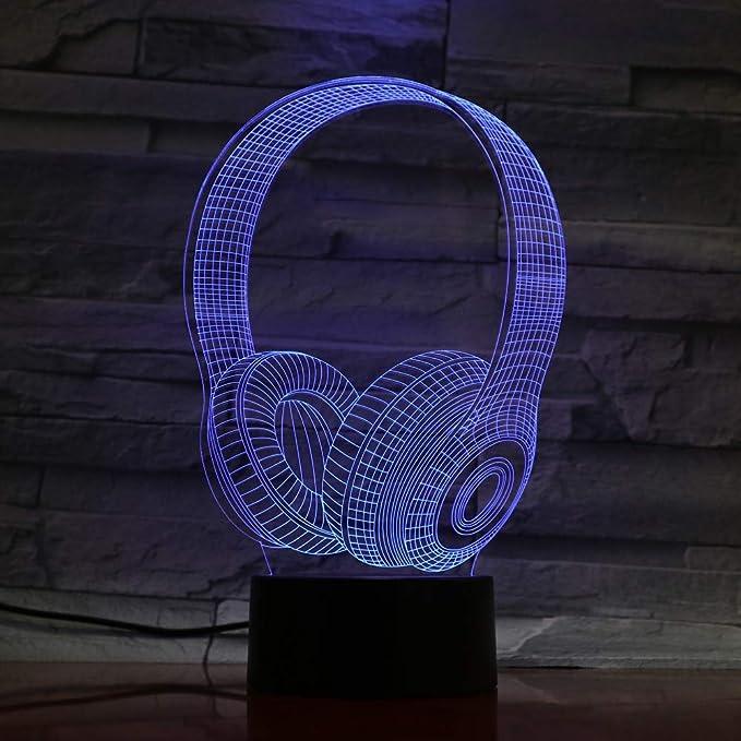 KAIYED Lámpara De Mesa para Niños Led 3D Auriculares ...