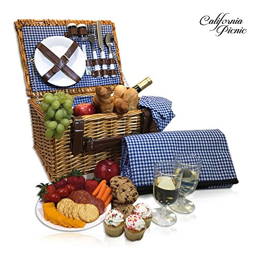 Picnic Basket Set - 2 Person Picnic Hamper Set - Waterproof Picnic Blanket Ceramic Plates Metal Flatware Wine Glasses S/P Shakers Bottle Opener Blue Checked Pattern Lining Picnic Set