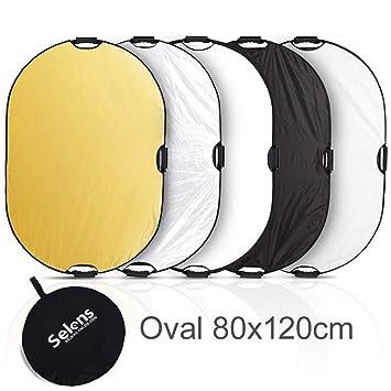 Selens 5 en 1 Reflector de Luz Oval 80x120CM Plegable Portátil con Asa Iluminación Estudio Fotográfico