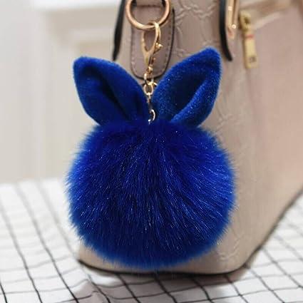 Llavero con diseño de orejas de conejo de 12 cm con pompón ...