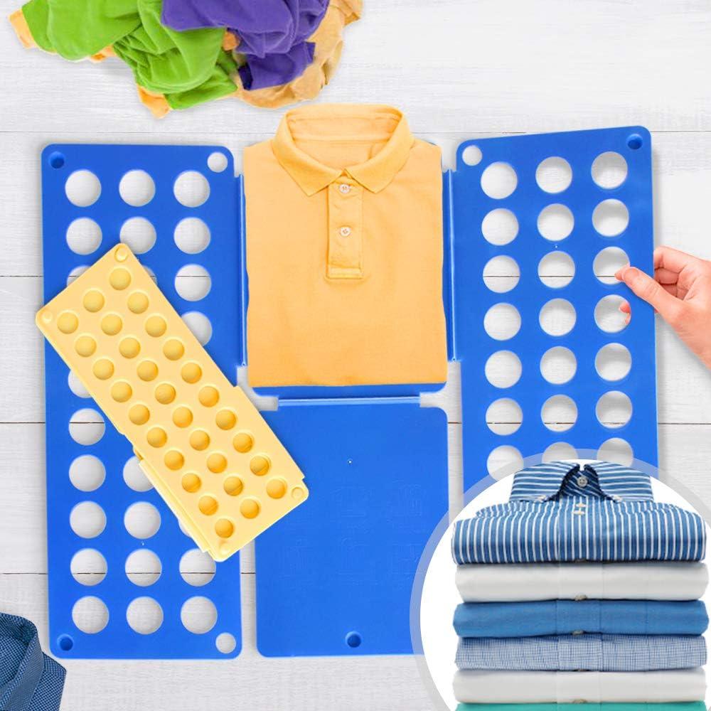 Grande Doblador de Ropa Juego de 2 - en Azul (L/H: 70/59cm) y Amarillo (L/H: 50/40cm) - Tablero para Plegar Camisas, Folding Board, Clothes Folder - para Camisetas, Camisas, Jerseys, Toallas: Amazon.es: