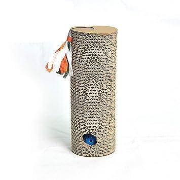 Klerokoh Juguete para Mascotas Cinturón cilíndrico Campana Bola Puzzle Gatos Garras Papel Corrugado Gato Tablero del rasguño (Color : Brown): Amazon.es: ...