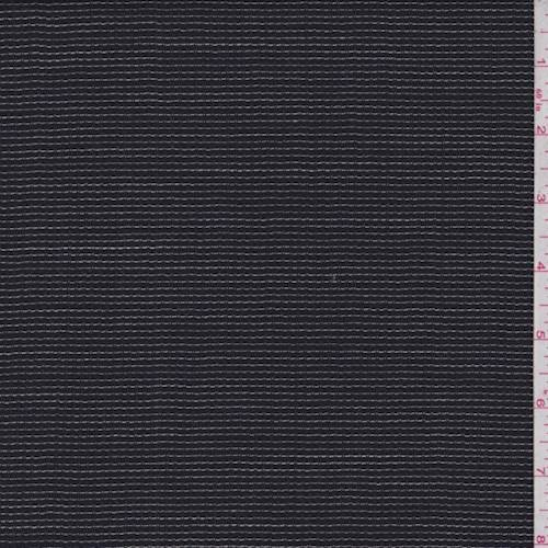 Dark Navy Check Wool Blend Suiting, Fabric by The Yard - Wool Blend Suiting
