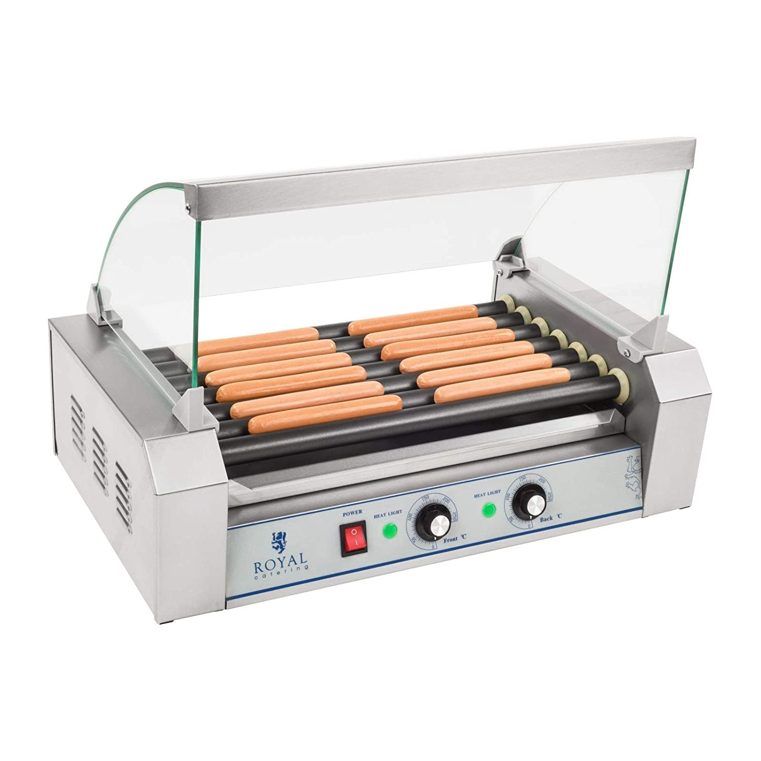 Royal Catering - RCHG-7T - 7-Roller Sausage Grill with Teflon Coating