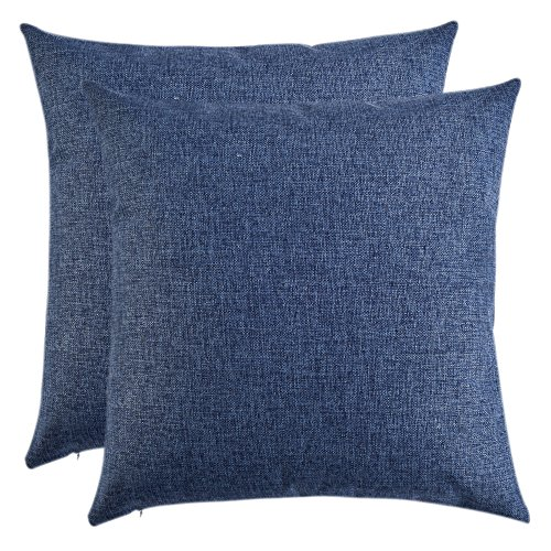 Artcest Set of 2, Decorative Linen Bed Throw Pillow Case, Sofa Durable Modern Stylish, Comfortable Cushion Cover for Couch, 16''x16'' (Royal Blue) by Artcest