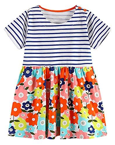 GSVIBK Dresses Cartoon Striped Pockets product image