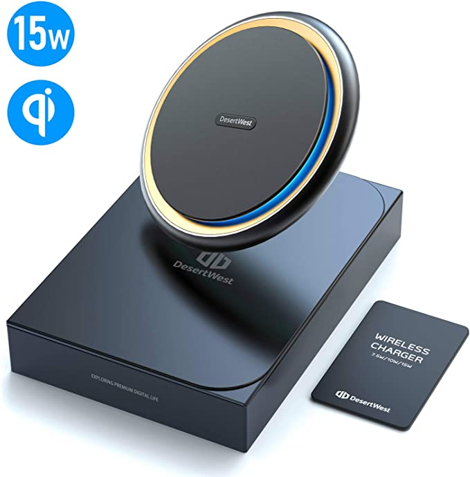 DesertWest Wireless Fast Charger, 15W Wireless Charger Pad Metal Frame Convenient Desk Qi Charger for New iPhone SE 2020iPhone 11XSXRX8, Samsung