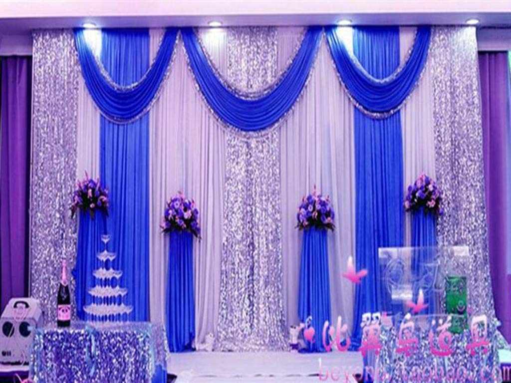 Eyestar Stage Decorations Backdrop Party Drapes with Swag Silk Fabric  Curtain Birthday/Event (Royal Blue),20x10ft: Amazon.in: Home & Kitchen