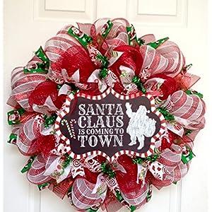 Santa Claus is Coming to Town Handmade Deco Mesh Chalkboard Christmas Wreath 110