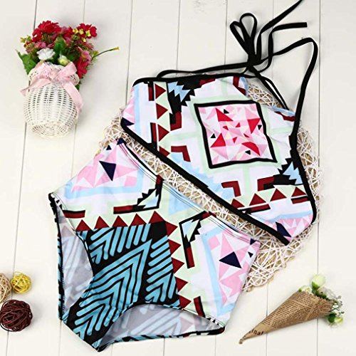 Price comparison product image WensLTD Fashion Women's Push up Padded Bikini High-waisted Tankinis Flowers Print Swimsuit 2 Piece (S, Sky Blue)
