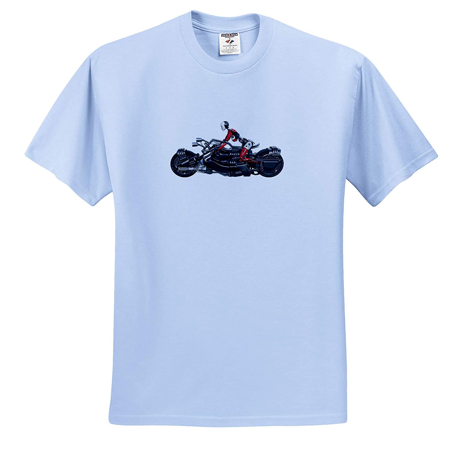 T-Shirts 3dRose Boehm Graphics Robot Cyborg Female in Side Profile on a Motorcycle