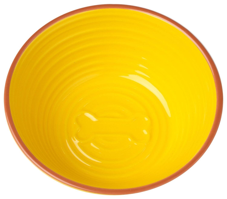 Pet Rageous 2.5 Cups Key West Embossed Bone Bowl, 6 , Lemon