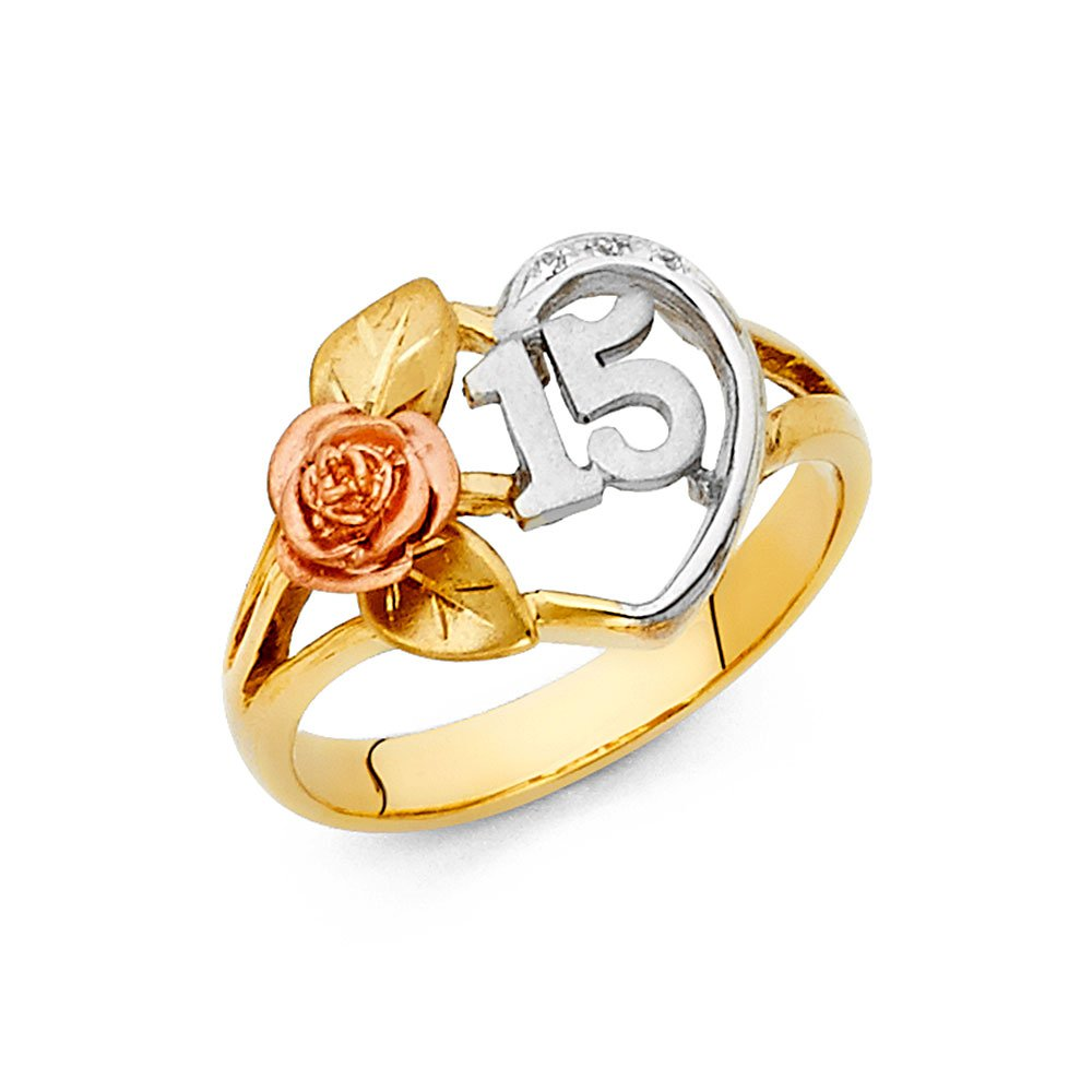 15 Years Heart Ring Solid 14k Yellow White Rose Gold Quinceanera Band CZ Rose Love Stylish Fancy, Size 7