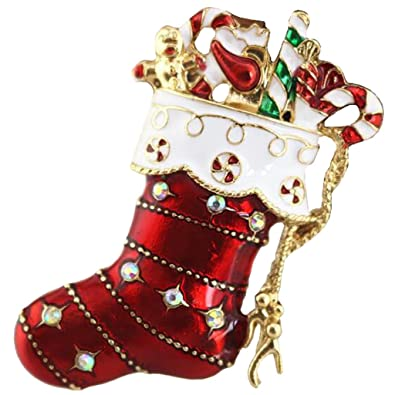 modogirl fashion womens safety pin beautiful christmas stockings brooch pin enamel red corsage princess gift
