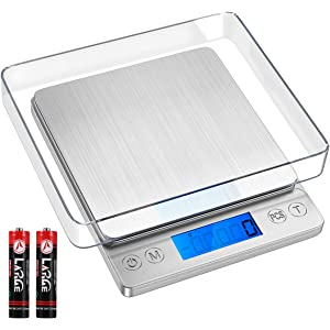 KeeKit Digital Kitchen Scale, Multifunction Kitchen Scale with 2 Trays, High Accuracy Food Scale with 6 Units, Backlit LCD Display, PCS, Tare & Auto Off for Cooking, Baking (Batteries Included)