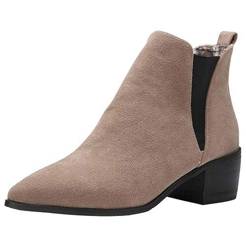 AicciAizzi Mujer Moda Puntiagudo Botines Tacon Ancho Botines Chelsea Sin Cordones Fiesta Vestido Zapatos Apricot Size