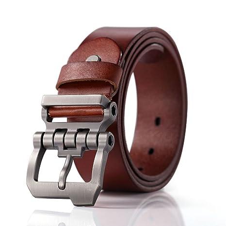 fotos oficiales 66e74 5d0b6 Teemzone diseño de hebilla rueda dentada con Cinturón Piel de Funda de  Cuero Cinturón (marrón 110cm cintura 90-100cm)