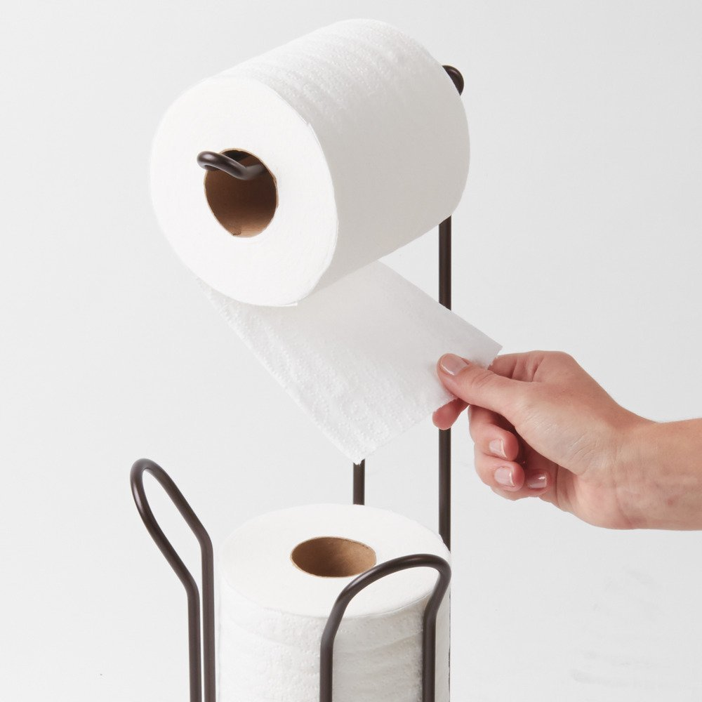 Interdesign classico free standing toilet paper holder for Toilet paper holder free standing