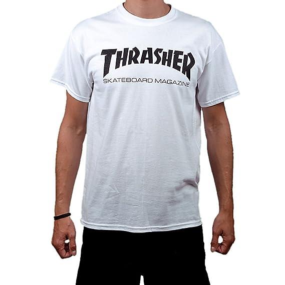 76824ce76535 Thrasher Skateboard Skate Mag Logo White T Shirt: Amazon.co.uk: Clothing