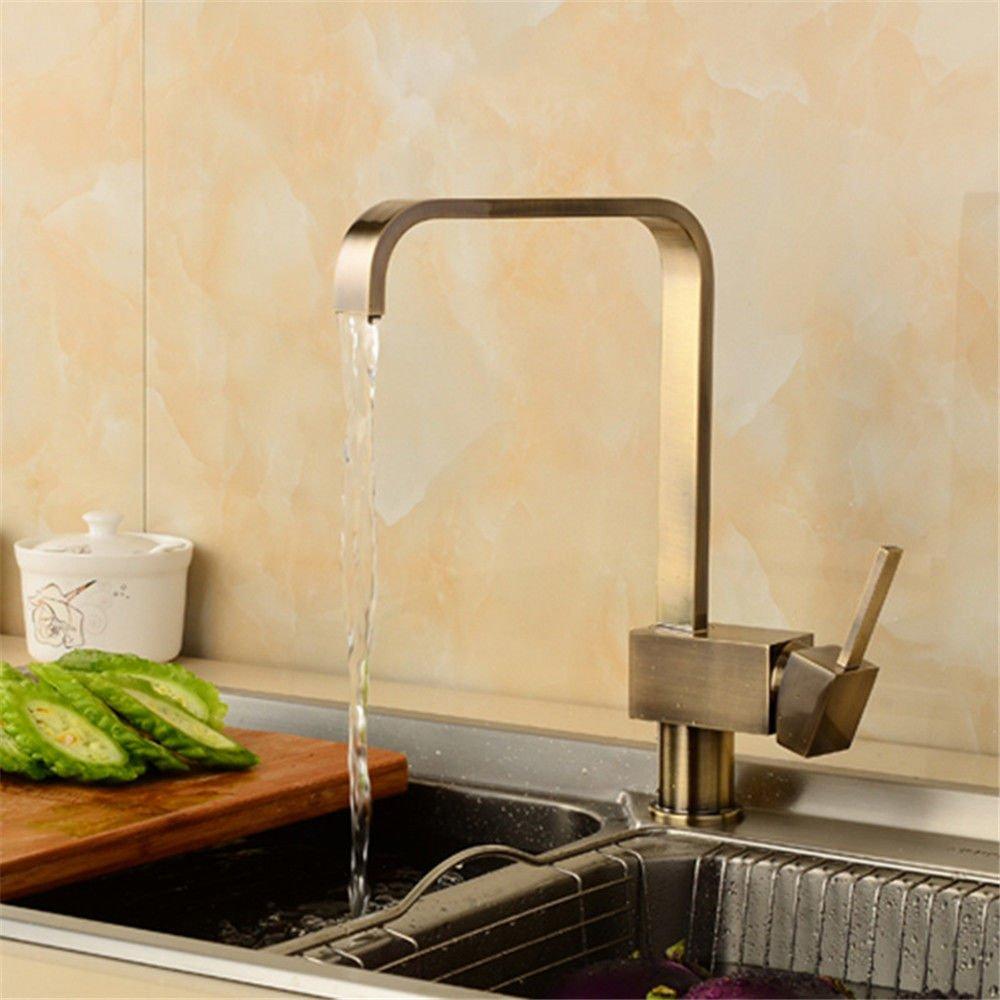 ANNTYE Waschtischarmatur Bad Mischbatterie Badarmatur Waschbecken Messing antik Warmes und kaltes Wasser Schwenken der Einhebelsteuerung Badezimmer Waschtischmischer