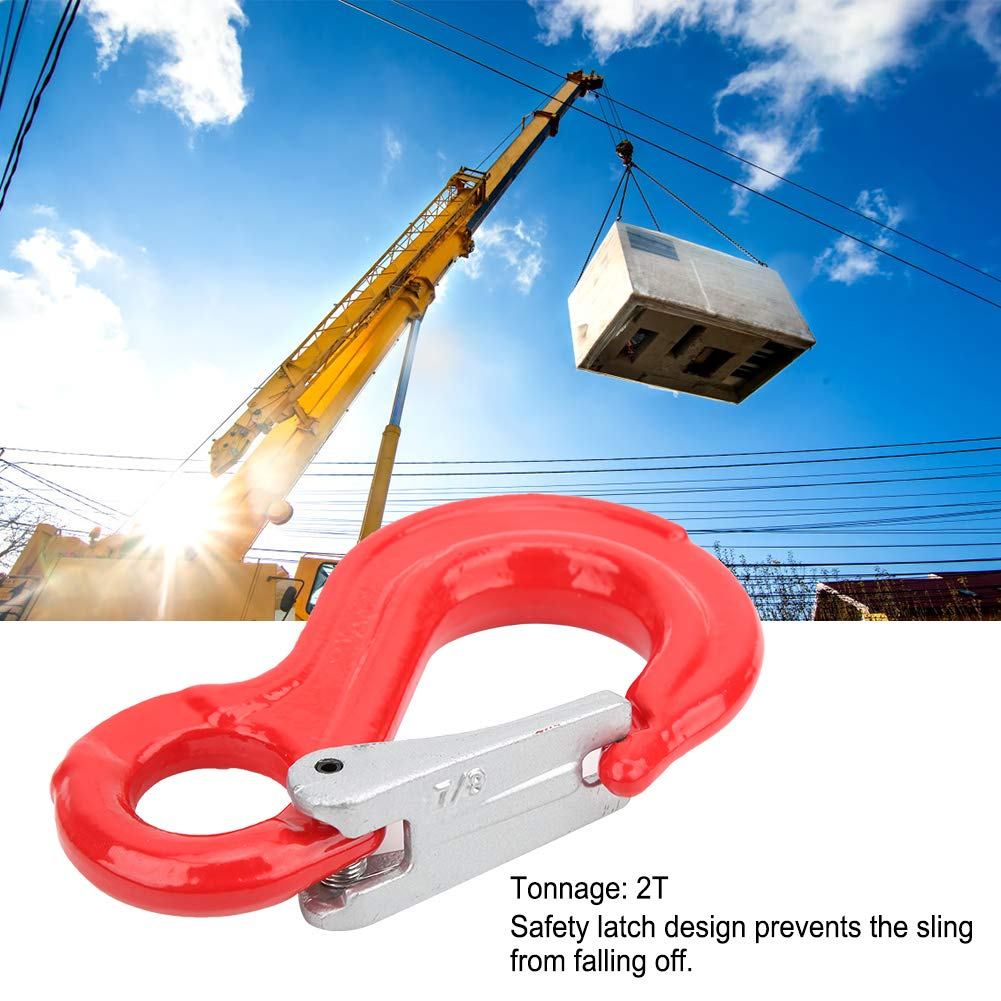 Sliding Hook Sling for Ship Construction,2T Round Fixed Eye Lifting Hook with Latch Alloy Steel Crane Hoist Hook