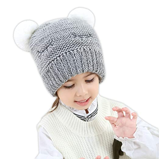 HUIXIANG Toddler Baby Kid Boy Girl Knitted Hats Icelandic Acrylic Yarn  Beanie Winter Knit Hat Patterns 79d5d56428b