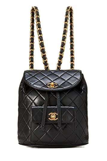 e98895a4fc0a Amazon.com: CHANEL Black Quilted Lambskin Backpack (Pre-Owned): Shoes