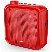 Spraakversterker, 12 W Oplaadbaar PA-systeem (1200 mAh) met Bekabelde Microfoon voor Docenten, Gids en Meer (rood)