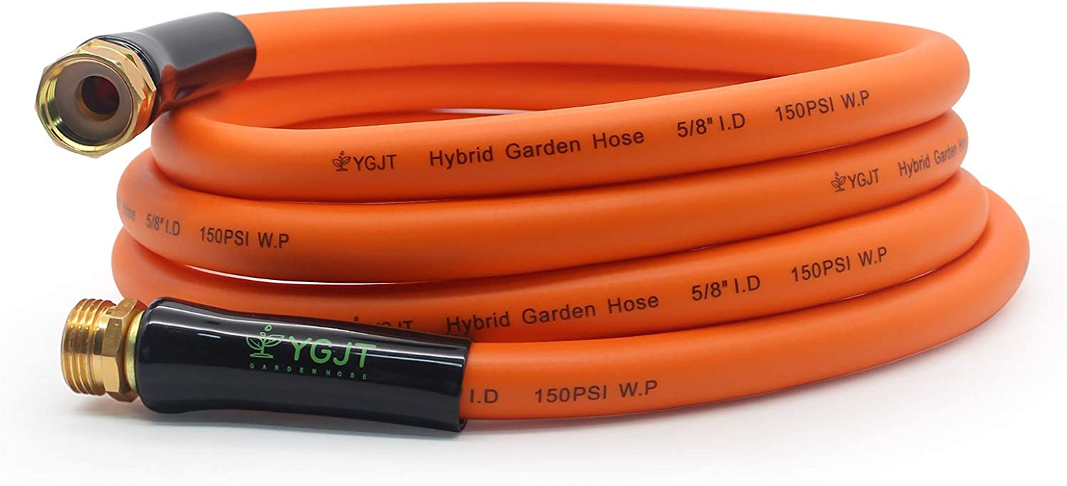 YGJT Garden Water Hoses 10 FT - 5/8 in, Durable Hybrid Polymer Flexible Water Pipe, Heavy Duty, for Gardening Watering and Washing