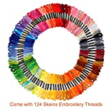 Paxcoo 100 Skeins Embroidery Thread Floss Cross Stitch with Aida Cloth, Embroidery Needles, Floss Bobbin and Cross Stitch Supplies