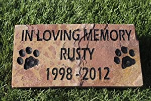 Engraved Pet Memorial Headstone Grave Marker Dog Cat 6 inch x 12 inch Natural Red Stone