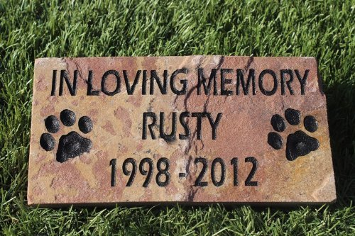 Picture of Engraved Pet Memorial Headstone Grave Marker Dog Cat 6 inch x 12 inch Natural Red Stone