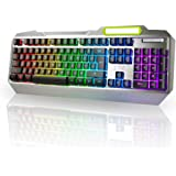 LeaningTech LTC K828 104 Key Anti-Ghosting RGB Programmable LED Backlit USB Wired Waterproof Gaming Keyboard with Voice Control Illuminated Function for PC Games Office - US Layout