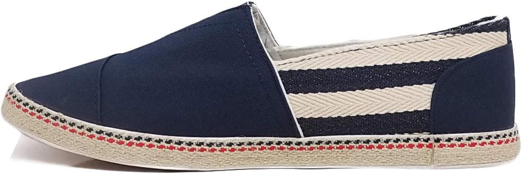 Black Saints Footwear Espadrillas Basse per Uomo Stringata con Strisce Payne