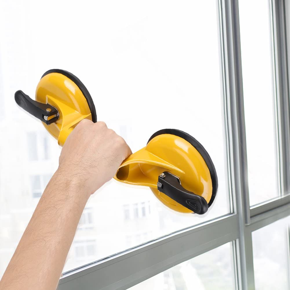 Aluminium Alloy Suction Cup Professional Double Plates Glass Holder Hooks Lifter Mover Dent Puller Heavy Duty Sucker Gripper for Moving Window Mirror Granite Repair Laminate Floor Gap Fixer