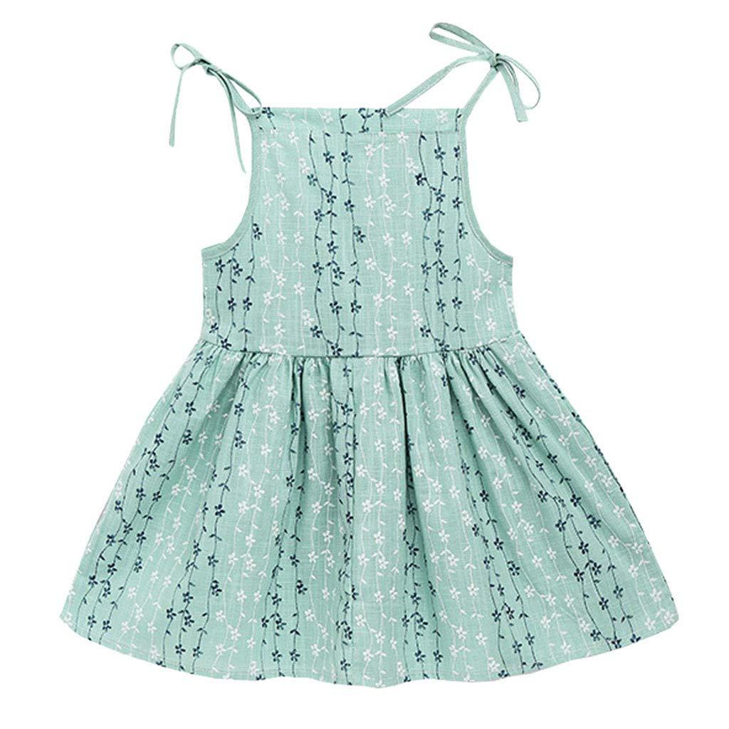 GUTTEAR Baby Girl Solid Flower Striped Princess Party Dress Sundress