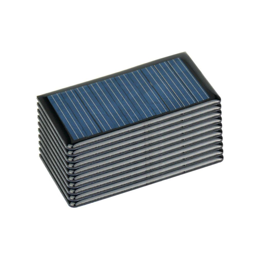 AOSHIKE 10Pcs 5V 60MA Epoxy Solar Panel Polycrystalline Solar cell for Solar Battery Charger diy 68x37MM/2.67x1.45inch
