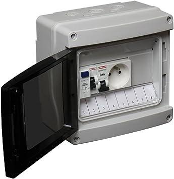 Debflex 707693 - Cuadro eléctrico (con disyuntor, interruptor diferencial y enchufe 2P+T): Amazon.es: Bricolaje y herramientas
