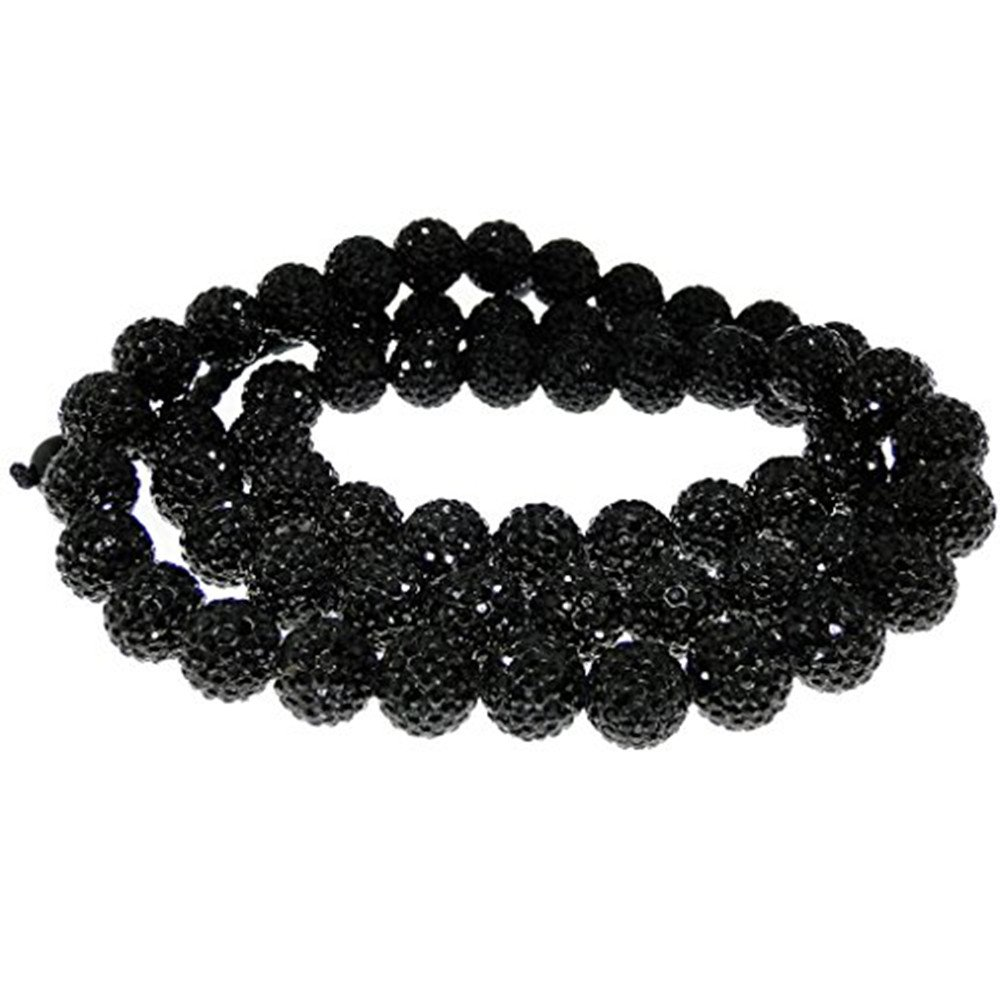 Unisex Short Necklace With Black CZ Crystals 10mm