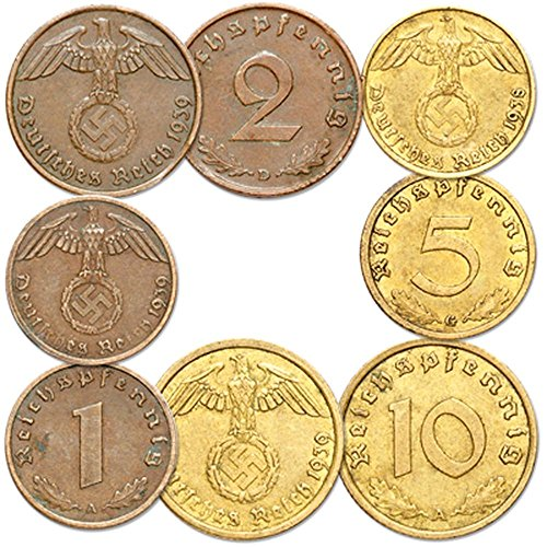 DE 1937 5 DIFFERENT RARE ORIGINAL 1930's NAZI COINS (4 w SWASTIKA) in BRASS, BRONZE and COPPER! Average XF DATES MAY DIFFER VF to AU