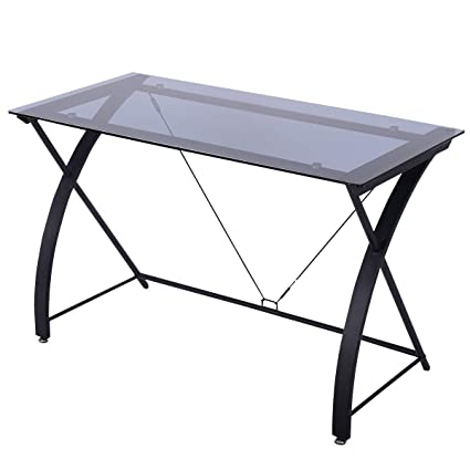 TANGKULA Computer Desk Writing Table Simple Home Office Computer  Workstation With Tempered Glass Top U0026 Iron